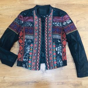 Blank NYC Vegan Leather Embroidered Jacket Size L